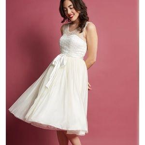 Modcloth ivory vintage tea length wedding dress